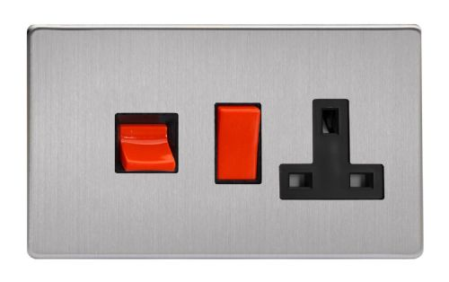 Varilight XDS45PBS Screwless Brushed Steel 45A DP Cooker Switch + 13A Switched Socket